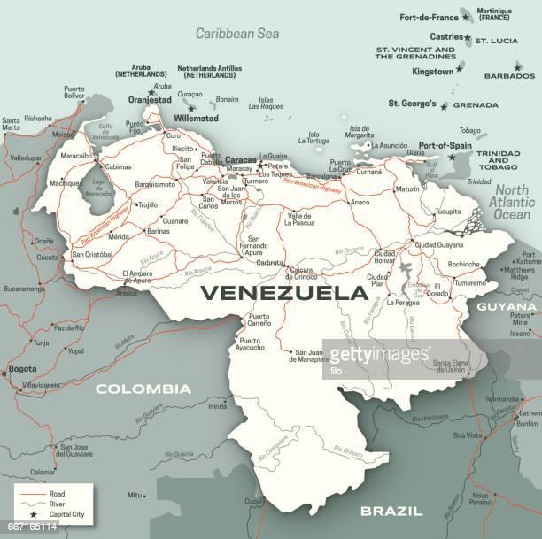 Venezuela City Road and River Map