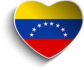 Venezuela Flag Heart Paper Button