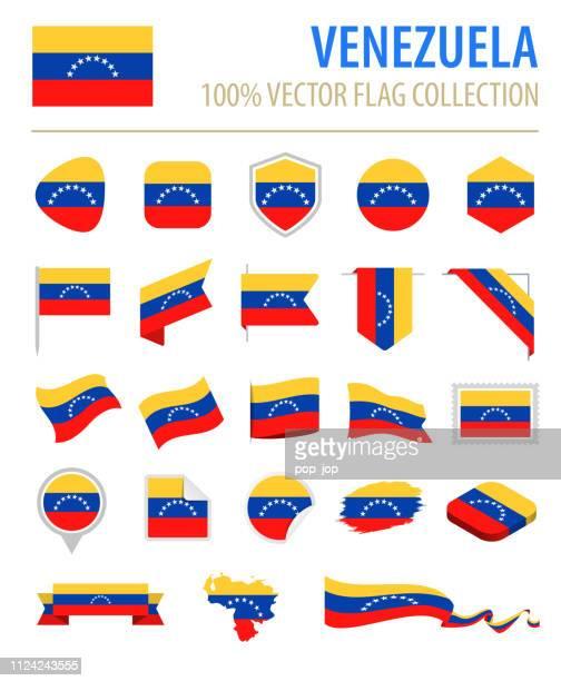 ilustraciones, imágenes clip art, dibujos animados e iconos de stock de venezuela - bandera icono vector plano conjunto - venezuela