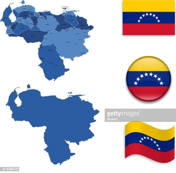 ilustraciones, imágenes clip art, dibujos animados e iconos de stock de bandera y mapa de venezuela - venezuela