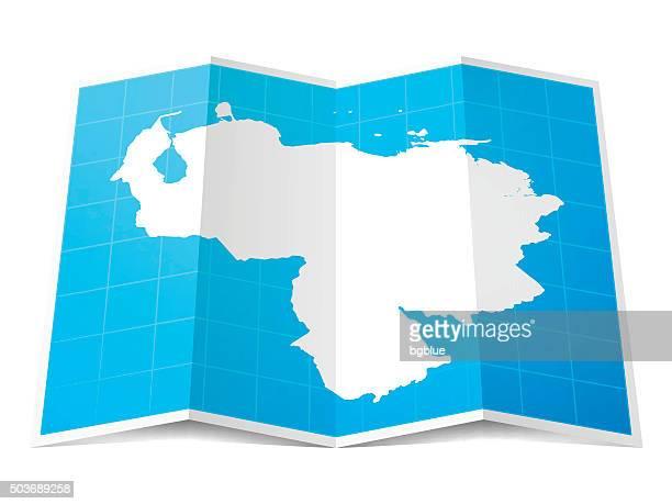 Venezuela Map folded, isolated on white Background