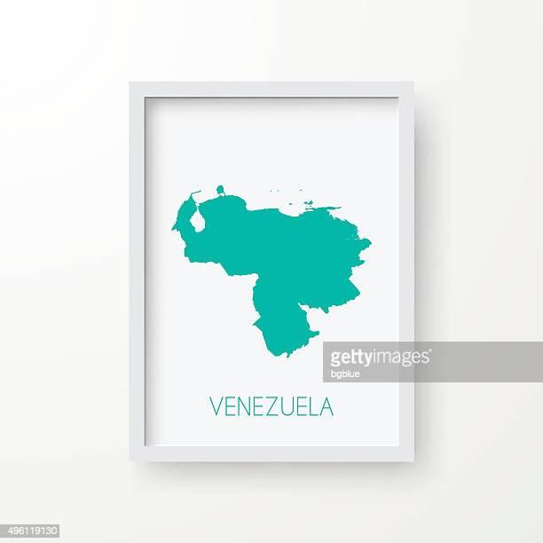 Venezuela Map in Frame on White Background
