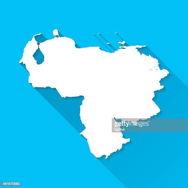 Venezuela Map on Blue Background, Long Shadow, Flat Design