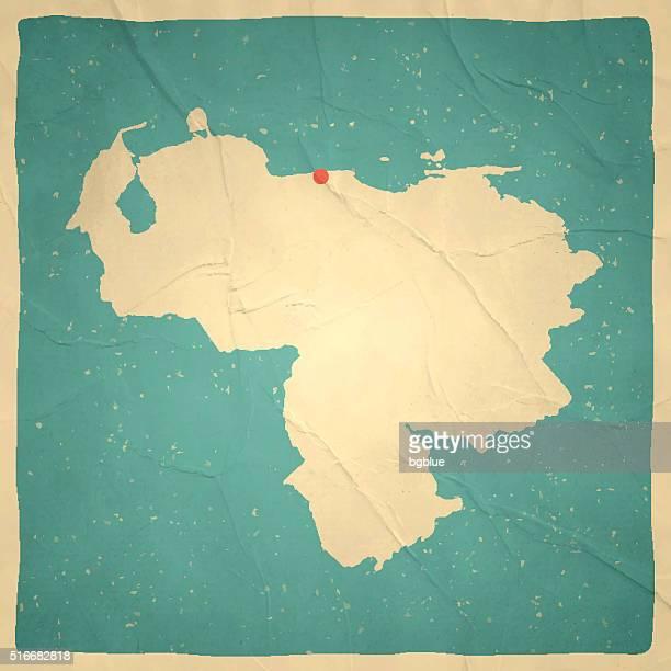 Venezuela Map on old paper - vintage texture