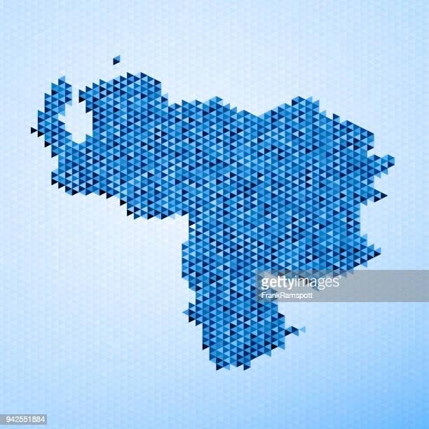Venezuela Map Triangle Pattern Blue