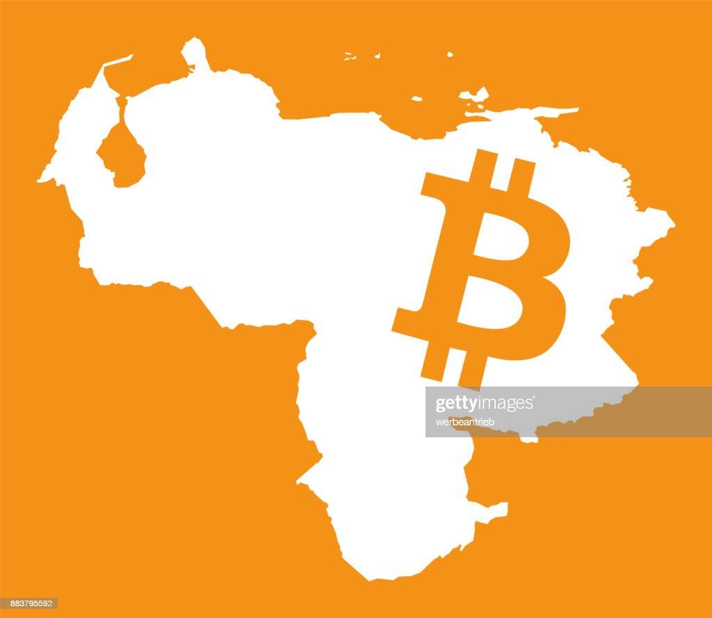 Venezuela map with bitcoin crypto currency symbol illustration