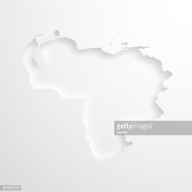 Venezuela map with embossed paper effect on blank background