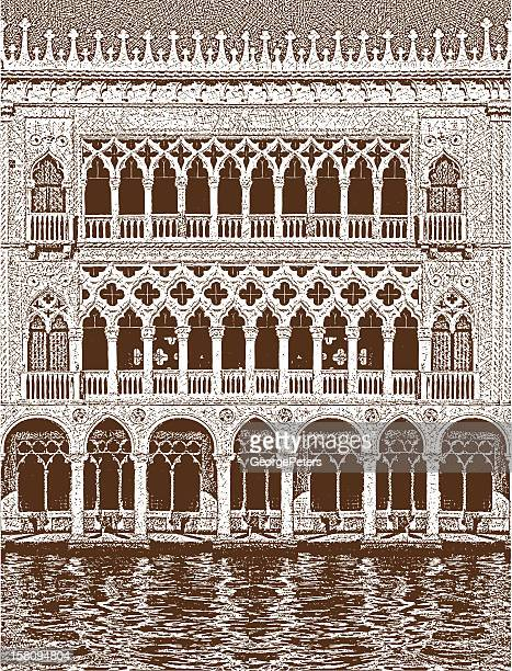 venice building facade - venice italy stock illustrations, clip art, cartoons, & icons