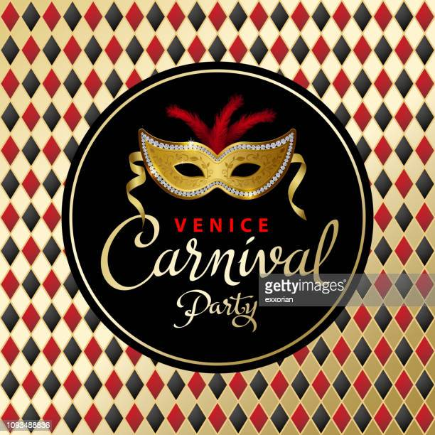 venice carnival party invitation - fairground stock illustrations