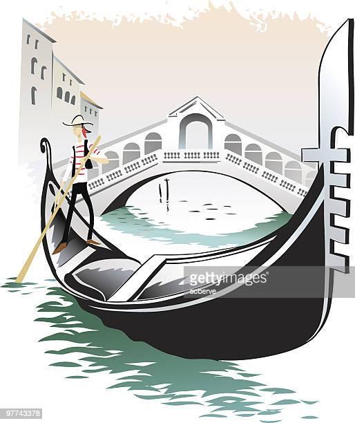 venice gondolieri - venice italy stock illustrations, clip art, cartoons, & icons