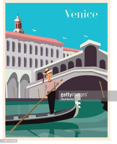 ilustraciones, imágenes clip art, dibujos animados e iconos de stock de cartel de la escena de venecia - torre petrolera