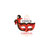 Venice sign with venetian carnival party eye mask. Travel Italy icon.