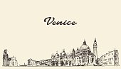Venice skyline vector illustration drawn sketch