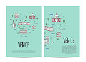 Venice travel tour booklet set in linear style