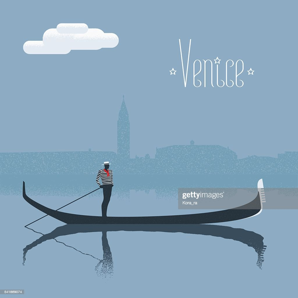 Venice / Venezia skyscrape view with gandolier vector illustration