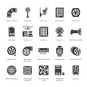 Ventilation equipment glyph icons. Air conditioning, cooling appliances, exhaust fan. Household and industrial ventilator signs for appliance store. Solid silhouette pixel perfect 64x64