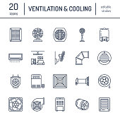 Ventilation equipment line icons. Air conditioning, cooling appliances, exhaust fan. Household and industrial ventilator thin linear signs for store