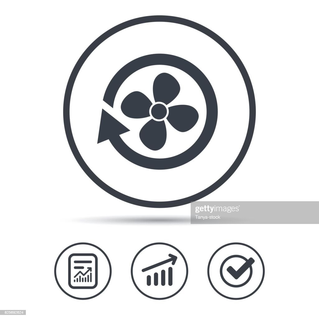 Ventilation icon. Air ventilator or fan sign.