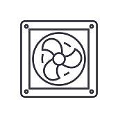 ventilation vector line icon, sign, illustration on background, editable strokes