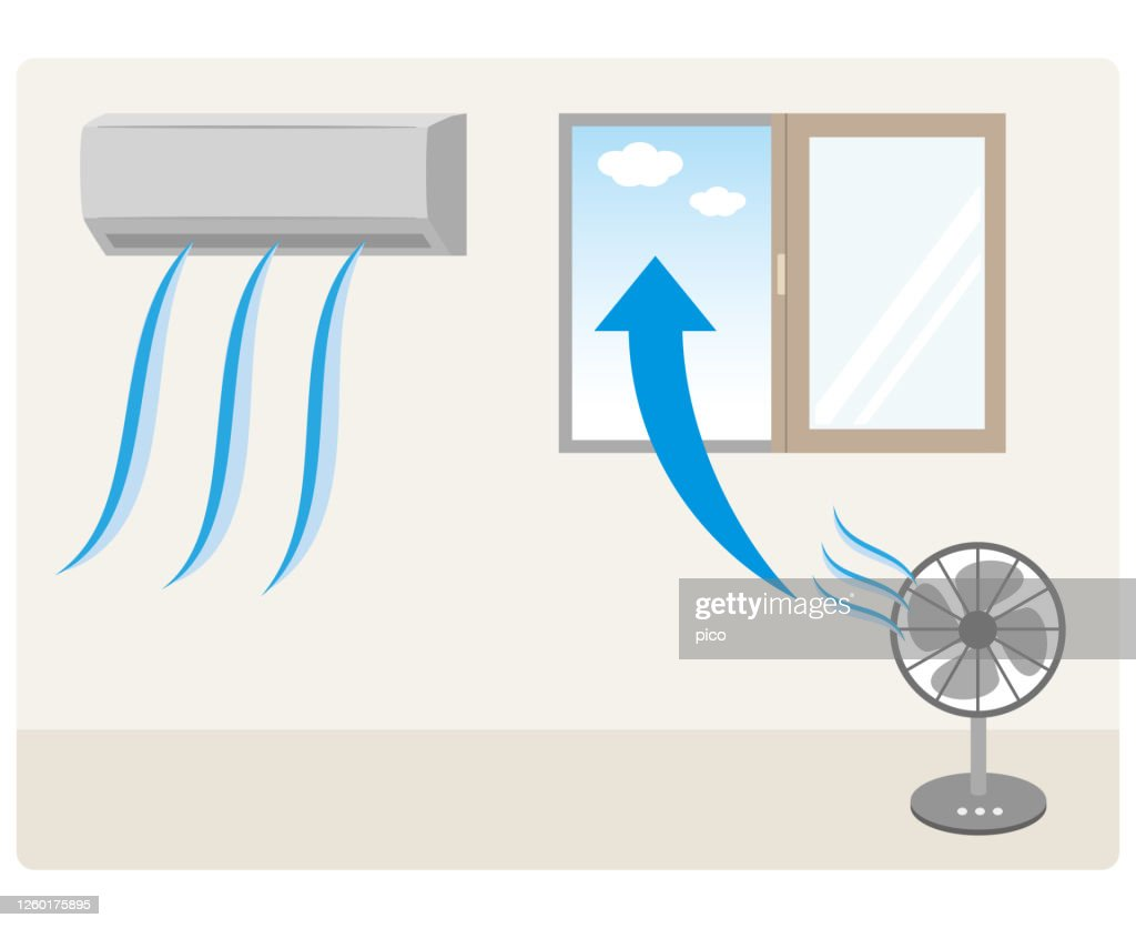Ventilation with a fan in a room with an air conditioner : stock illustration