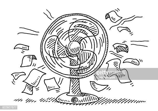 ventilator cooling wind flying paper drawing - electric fan stock illustrations