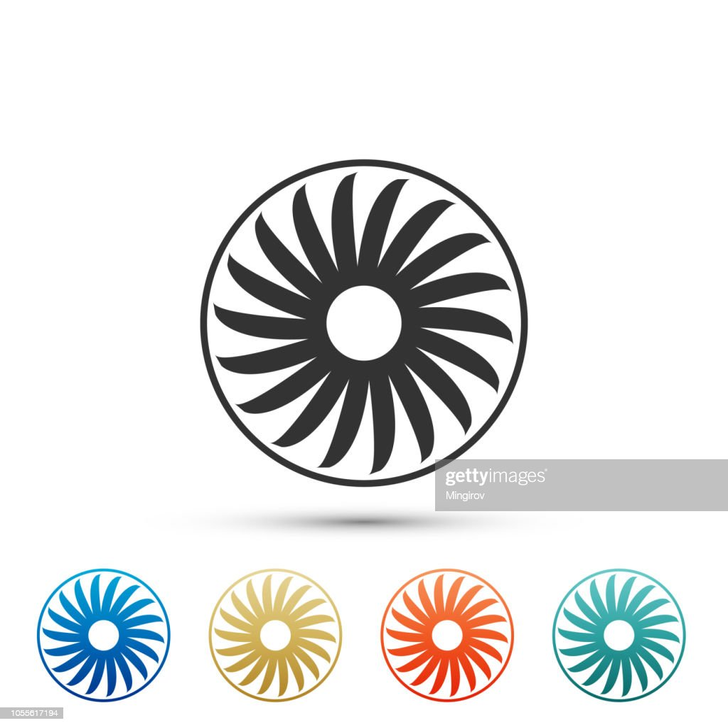Ventilator symbol icon isolated on white background. Ventilation sign. Set elements in colored icons. Flat design. Vector Illustration