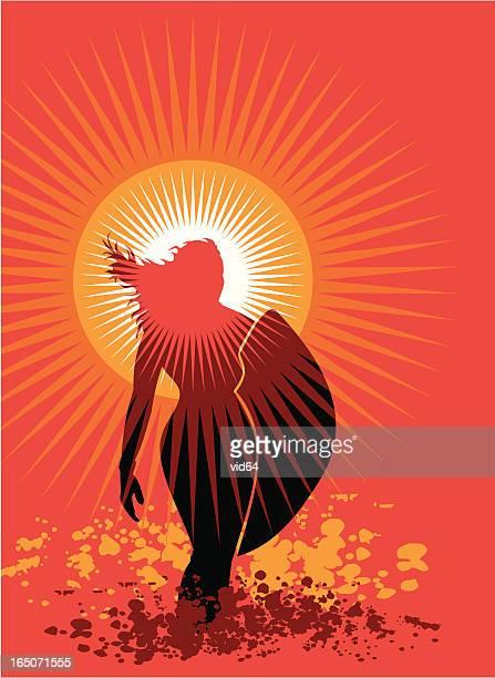 venus sunset surfer - aphrodite stock illustrations, clip art, cartoons, & icons