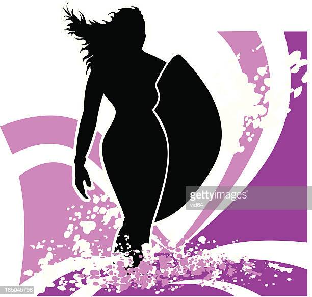 venus with surfboard - pink - aphrodite stock illustrations, clip art, cartoons, & icons