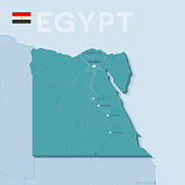 Verctor Map of cities and roads in Egypt.