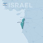 Verctor Map of cities and roads in Israel.