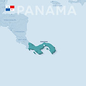 Verctor Map of cities and roads in Panama.