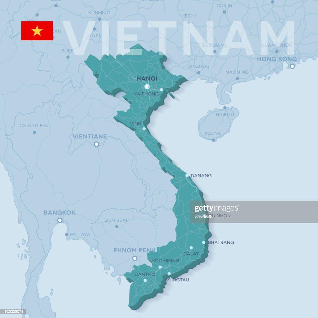 Verctor Map of cities and roads in Vietnam.