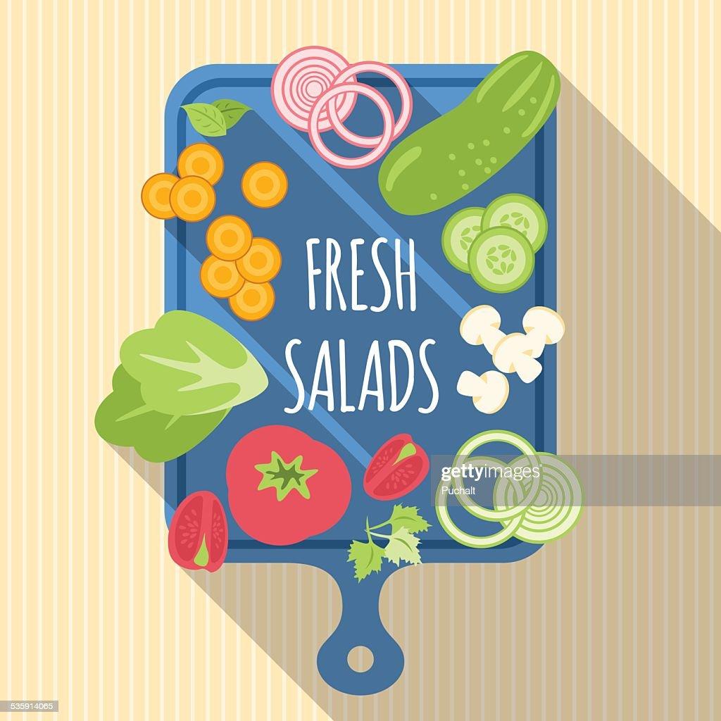 Verduras cortadas para la ensalada : Arte vectorial