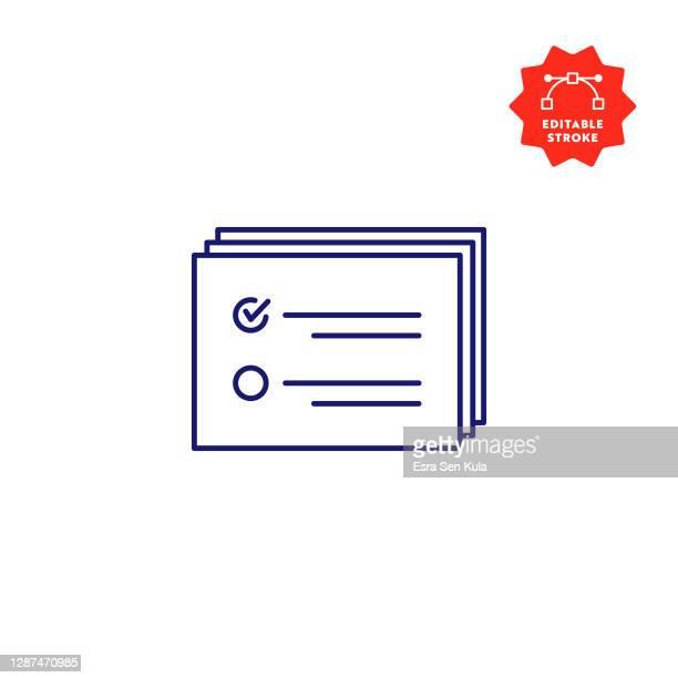 verification icon with editable stroke - verification stock illustrations