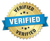 verified 3d gold badge with blue ribbon