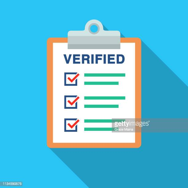 verified document list with check marks and clipboard - verification stock illustrations