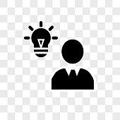 Verified idea lightbulb in man head vector icon on transparent background, Verified idea lightbulb in man head icon