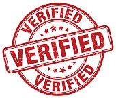 verified red grunge round vintage rubber stamp