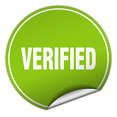 verified round green sticker isolated on white