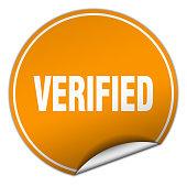 verified round orange sticker isolated on white