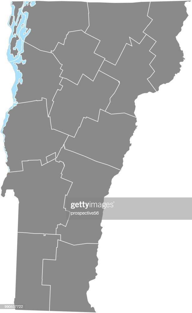 Vermont counties map vector outline gray background