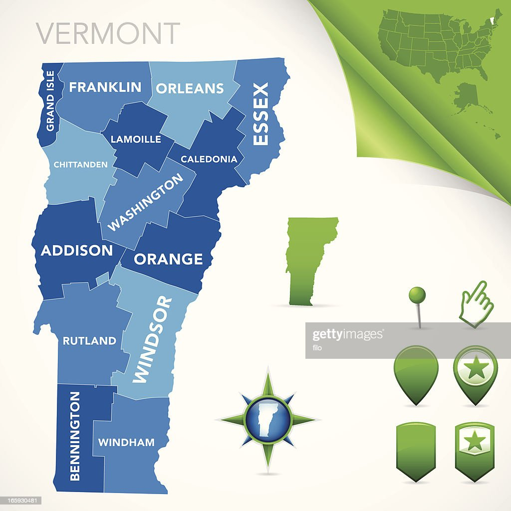 Vermont County Map Vector Art | Getty Images