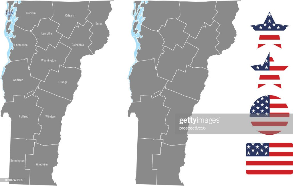 Vermont county map vector outline in gray background. Vermont state of USA map with counties names labeled and United States flag icon vector illustration designs