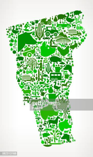 Vermont Farming and Agriculture Green Icon Pattern