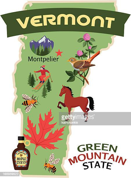 vermont map and icons - maple syrup stock illustrations