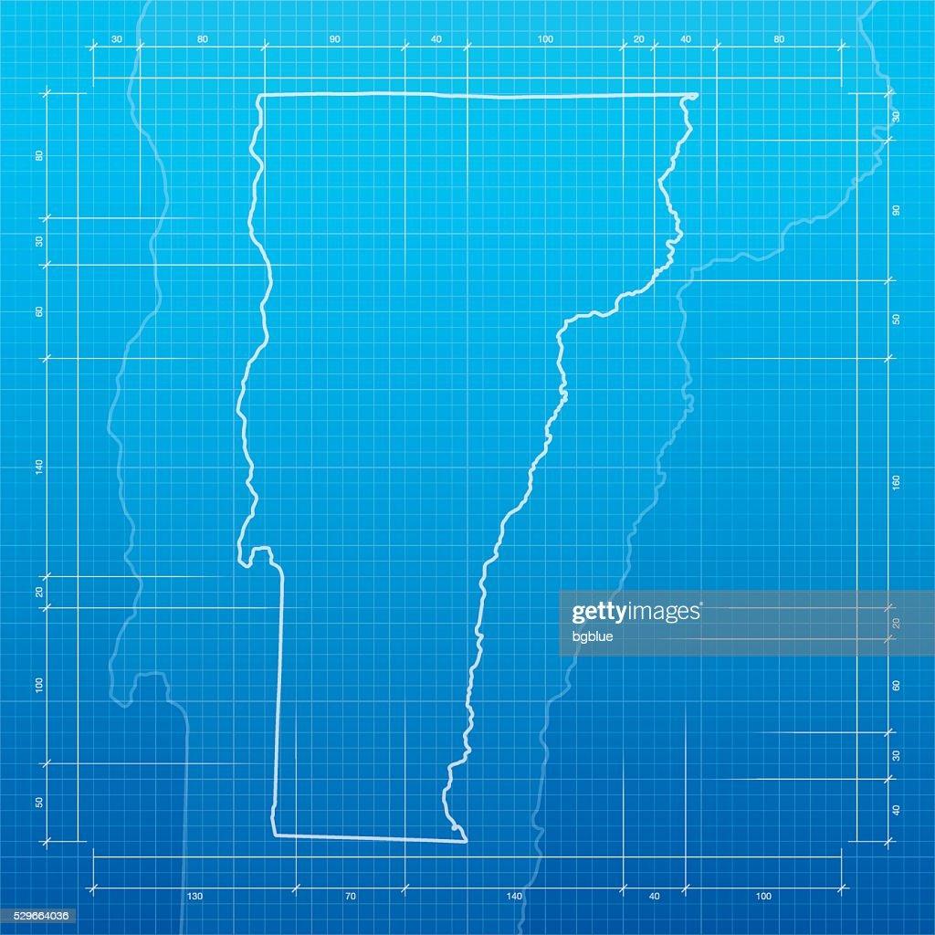 Vermont map on blueprint background vector art getty images vermont map on blueprint background vector art malvernweather Images
