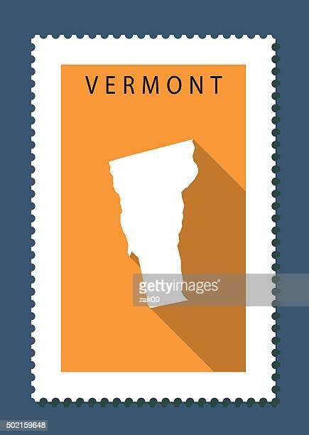 Vermont Map on Orange Background, Long Shadow, Flat Design,stamp