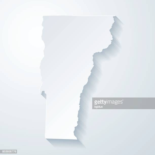 Vermont map with paper cut effect on blank background