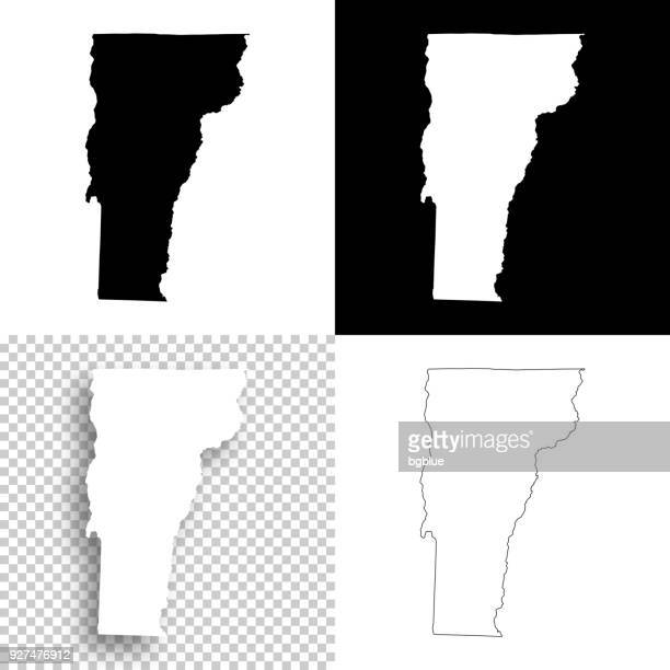 Vermont maps for design - Blank, white and black backgrounds