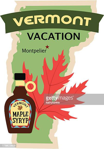 vermont travel sticker or luggage label - maple syrup stock illustrations